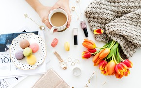 Wallpaper watch, coffee, bouquet, plate, tulips, macaroon