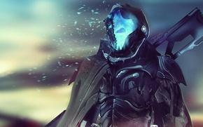 Wallpaper death, weapons, fiction, soldiers, armor, cyborg, cloak, cyberpunk