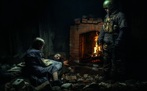 Picture girl, weapons, fire, soldiers, devastation, fireplace, wound