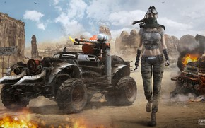 Picture girl, weapons, rocks, transport, Crossout Girl