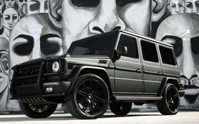 Picture Mercedes, black, AMG, G55, with, matte, full, wrap