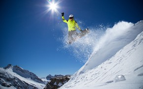 Picture winter, the sky, the sun, snow, mountains, stones, jump, snowboard, sport, glasses, jacket, gloves, helmet, …