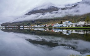 Picture Seyðisfjörður, mountains, Iceland, home, clouds, harbour
