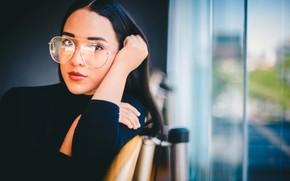 Picture brunette, glasses, portrait