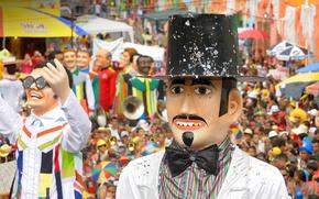 Picture carnival, Brazil, giant puppets, Pernambuco, Olinda