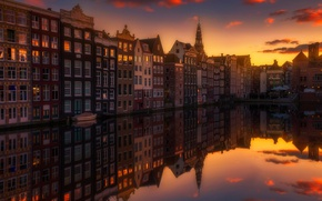 Wallpaper sunset, the city, home, reflection, light, channel, the evening
