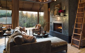 Picture interior, fireplace, living room, Home in St. Helena