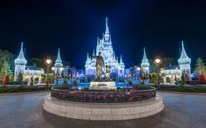 Picture night, lights, Park, street, lights, CA, USA, Disneyland, Anaheim