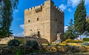 Picture trees, stones, castle, Sunny, Cyprus, Kolossi Castle