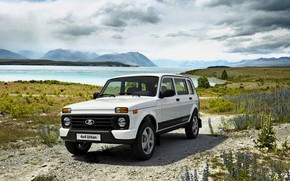 Picture the sky, clouds, vegetation, SUV, pond, primer, Niva, the five-door, AvtoVAZ, Lada 4x4 Urban