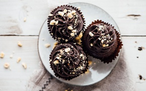 Picture chocolate, nuts, cupcakes, baby, chocolate, muffins