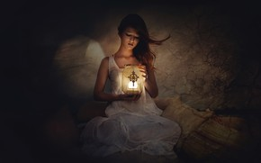 Picture girl, light, mood, lamp, shadow