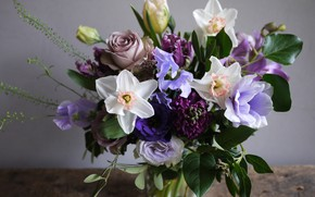 Picture Narcissus, freesia, roses, bouquet