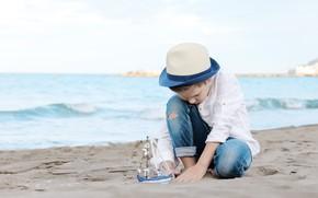 Picture sea, shore, jeans, hat, boy, boat, coast, hat, boys, boat