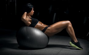 Picture brunette, ball, workout, fitness, abs