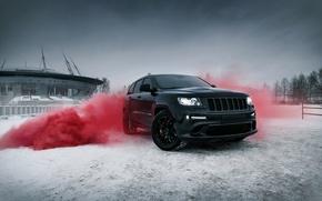 Picture car, machine, city, car, srt, Saint Petersburg, cars, auto, smoke, bridge, winter, jeep, grand cherokee, …