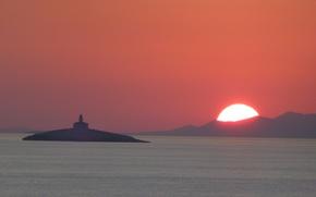 Picture twilight, sea, sunset, seascape, island, hills, dusk, lighthouse, Croatia, Dubrovnik, Adriatic Sea, silhouettes, Korcula