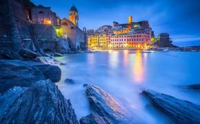 Picture coast, home, Italy, Church, night city, Italy, The Ligurian sea, harbour, Vernazza, Vernazza, Cinque Terre, ...