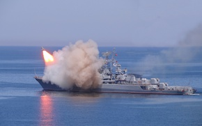 Picture ship, combat, The black sea, missiles, guard, Okay, launches
