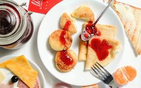 Picture Breakfast, cheese, pancakes, sausage, jam, Mandarin, cheesecakes