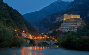 Picture mountains, night, bridge, lights, river, Italy, Bar, Valle d'aosta