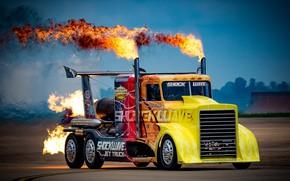 Picture fire, truck, Peterbilt, powerful
