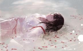 Picture water, sleep, petals, kimono, Akagi, Kantai Collection, Naval Collection