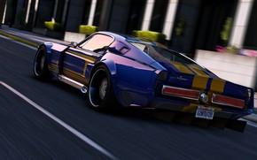 Wallpaper Mustang, car, Grand Theft Auto V, road, GTA V., speed, Rockstar Games