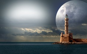 Picture the sky, coast, lighthouse, planet
