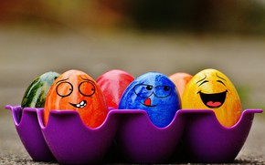 Picture colorful, smile, Easter, rainbow, Easter, eggs, funny, decoration, Happy, the painted eggs