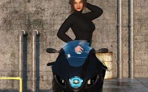 Picture girl, wall, motorcycle