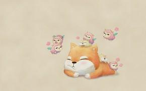 Picture mood, sleep, cat, anime, art, romantic, children's, lambs
