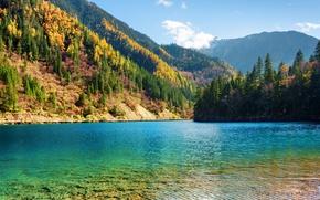 Picture autumn, forest, trees, mountains, lake, China, Sunny, reserve, Jiuzhaigou