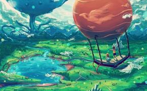 Picture Nature, Lake, Book, Children, Birds, Landscape, Balloon