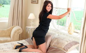 Picture girl, pose, smile, bed, figure, dress, window, Bryoni Kate