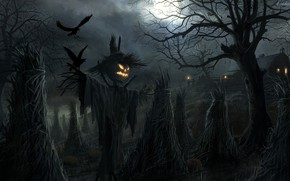Picture Halloween, moon, house, field, night, holiday, pumpkin, barn, scary, scarecrow, spooky, ravens, sheaves, Jack O' ...