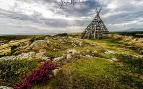 Picture field, nature, wigwam, the hut