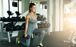 Picture Sport, Dumbbells, exercise, classes, Girl, Fitness room