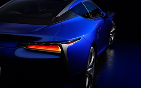 Picture headlight, Lexus, rear view, 2018, LC 500, Structural Blue