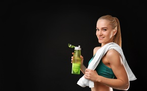 Picture smile, water, model, look, fitness