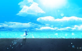 Picture sea, summer, the sky, bottle, girl, Y_Y