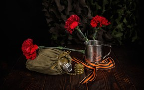 Picture flowers, mug, clove, Victory Day, jar, May 9, St. George ribbon