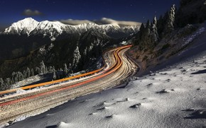 Picture winter, road, mountains, lights