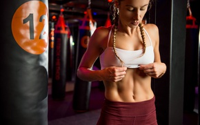 Wallpaper Hanna, belly, the gym, face, sports, girl