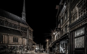 Picture night, street, France, home, Normandy, Honfleur