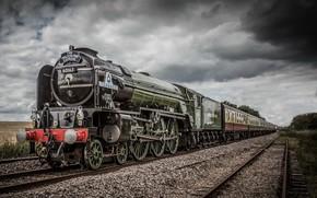 Wallpaper railroad, the sky, train