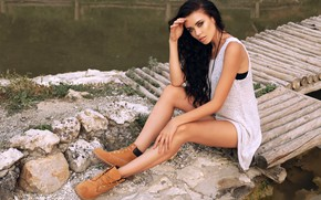 Wallpaper stones, sitting, shoes, legs, brunette, makeup, hairstyle, Mike, beauty, bridges, figure, the water, pose