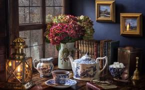 Wallpaper style, flowers, books, rain, hydrangea, glasses, lantern, kettle, tea, window, bouquet, Cup, sugar, lamp, still ...