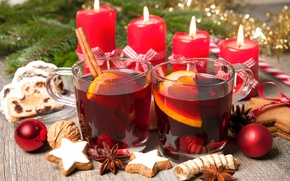 Picture balls, candles, New Year, cookies, Christmas, wine, orange, merry christmas, punch, tea, candles, decoration, mulled …