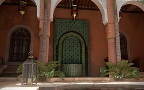 Picture plants, crane, lantern, architecture, Moroccan Courtyard
